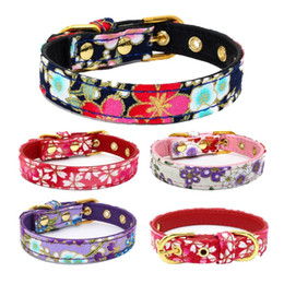 printed pet pads 2019 - Pet Dog Cat Printing Cloth Collars with Super Soft PU Lining and Gold Color Buckle Adjustable 100pcs cheap printed pet p