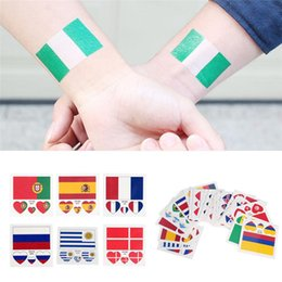 Wholesale Russia World Cup National Flag Tattoo Sticker Temporary Brazil Russia Flag Football Game Body Face Hand Tattoo