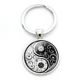 signs for cars 2019 - Gothic Tai Ji Yin Yang Key Chain Black White Glass Cabochon Charm Keychain For Keys Car Bag Taoism Sign Key Ring Jewelry
