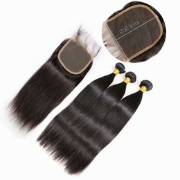 Chinese  Brazilian Straight 5x5 Lace Closure With Bundles Human Hair Weave With Closure Virgin Hair 3 Bundles With Lace Closure 4Pcs Lot manufacturers