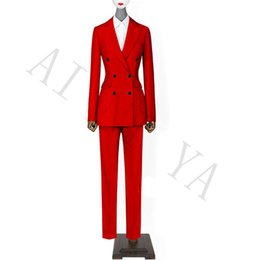 Red Suit Women NZ - Jacket+Pants Women Business Suits Red Double Breasted Female Office Uniform Evening Wedding Formal Ladies Trouser Suit