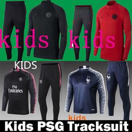f0056aa0b THailand Kids 2018 2019 Paris tracksuit psg Soccer jogging jacket MBAPPE  POGBA survetement 18 19 Paris child Football Training suit Kits