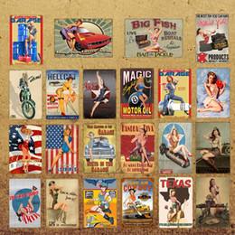 $enCountryForm.capitalKeyWord NZ - American Sexy Golf Girl Tin Signs Pop Art Pin up Metal Poster Garage Texas Motor Oil Retro Kraft Decorative Wall Sticker YD034