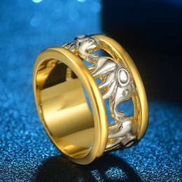 $enCountryForm.capitalKeyWord NZ - choucong Big Elephant Design ring Yellow & White Gold Filled Engagement Wedding Band Rings For Women Bridal jewelry Width 11mm