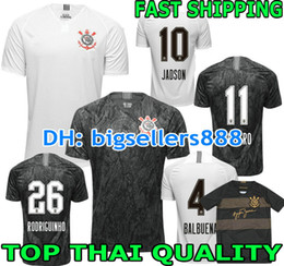 30f6846b0d403 JADSON 2018 2019 Corinthians jersey futebol home branco 3RD JO M.GABRIEL  KAZIM Brasil clube QUALIDADE SUPERIOR 18 19 afastado camisa de futebol preta