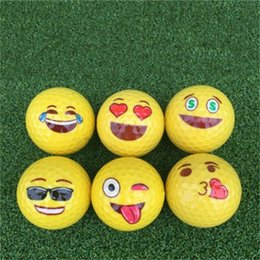 Wholesale New Double Deck Golfs Children Cartoon Color Ball Golden Expression Indoor Golf Outdoor Golf Snow Earth 2 9gm dd