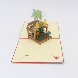 kirigami cards NZ - Handmade Kirigami 3D Pop up Desert Camel Greeting Card Birth of Jesus Christmas Gift Card Birthday Party Postcard Creative Gift