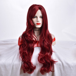 mei cosplay NZ - Xiu Zhi Mei Special Offer High Quality Long Wavy Cosplay Wig European and American women wine Red Wigs