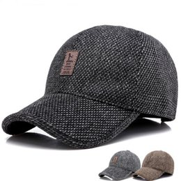 24be98bd5e6 Brand Men Winter Hat Keep Warm Cap For Dad Outdoor Baseball Caps With Ear  Protecter Adjustable Flax thickening Hats Wholesale