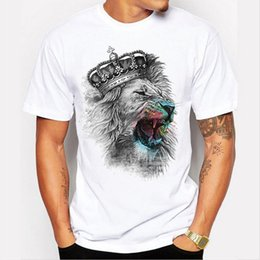 Cool Printed Tshirts Canada - Uwback Men's Casual T Shirt 2018 Summer Lion King Printed Funny TShirts Short Sleeve 3D Animal Tops O-Neck White Cool Tees XA522