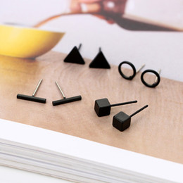 studs boxed Australia - New Arrival Round triangle Shaped Silver Gold Black Color Alloy Stud Earring For Women Ear Jewelry 4 pairs not including box