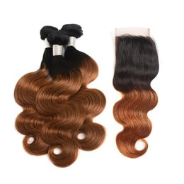 4x4 hair closure 2019 - Ombre T1B 30 Body Wave Colored Hair Bundles with Closure Brazilian Medium Auburn Human Hair Weave 3 Bundles with 4x4 Lac