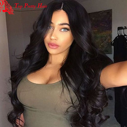 $enCountryForm.capitalKeyWord NZ - Natural Wavy Full Lace Wigs Middle Part Long Natural Looking Jet Black Celebrity Human Hair Wigs Virgin Peruvian Hair For White Women
