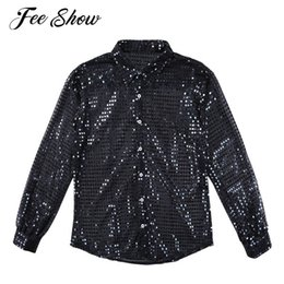 $enCountryForm.capitalKeyWord Canada - Feeshow Mens Fashionable Shiny Sequins See Through Mesh Shirt Clubwear Long Sleeves Loose Fit Party Dance Performance Tops Shirt