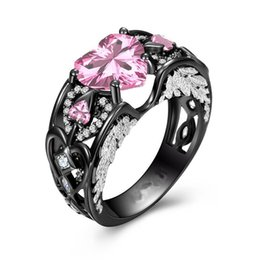 Chinese  Victoria Wieck choucong Sparkling Jewelry 925 Sterling Silver&Black Gold Filled Heart Shape Pink Sapphire CZ Diamond Gemstones Wing Ring manufacturers