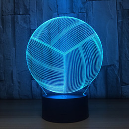 Discount cartoon volleyball - Volleyball 3D LED Optical Illusion Lamp Night Light DC 5V USB Charging AA Battery Wholesale Dropshipp Free Shipping
