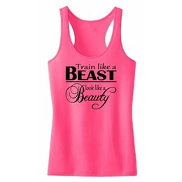 Chinese  Train Like A Beast Tank Top Tee Shirt Femme Exercise Fitness Work Out Lady Woman Casual Fit Women's Clothing Grey White Rose Red manufacturers