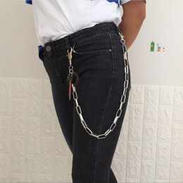 metal punk clothing NZ - 650mm Fashion Punk Hip-hop Trendy Belt Waist Chain Male Pants Chain Hot Men Jeans Silver Metal Clothing Accessories Jewelry