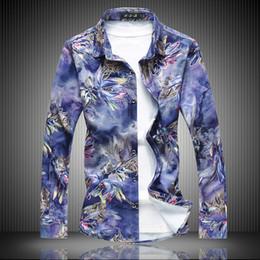 Design Red Shirt Australia - Oversized 7XL 6XL Men's Casual Shirts Blue Red 2018 New Fashion Men Long Sleeve Cotton Design Men Flowers Shirts 9091