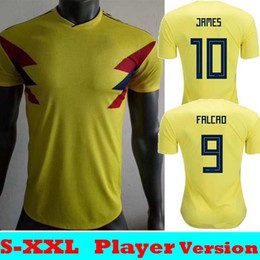 Thailand Shirts Australia - Player Version 2018 Colombia World cup 2019 Soccer Jerseys 18 19 Away Colombia FALCAO JAMES CUADRADO AGUILAR BACCA Thailand Football Shirt