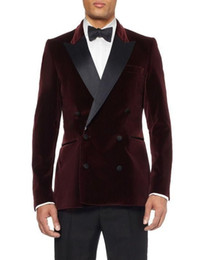 Dark Green Tie Grey Suit Australia - Double-Breasted Dark Red Velvet Groom Tuxedos Groomsmen Men's Wedding Prom Suits Bridegroom (Jacket+Pants+Girdle+Tie)