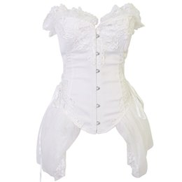 $enCountryForm.capitalKeyWord UK - Sexy White Satin With Tulle Skirted Strapless Wedding Gothic Dresses Corset EleSexy Corsets And Bustiers Burlesque Dress