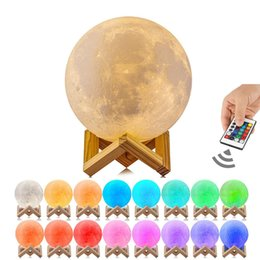 Wholesale 3D Print Moon Lamp Rechargeable Night Light RGB Color Change Touch Switch Bedroom D lunar Moon Lamp Home Decor Creative Gift