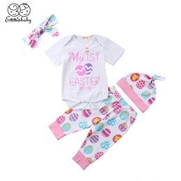 aee0a2d6e78a 2018 New Kid My First Easter 4Pcs Baby Girl Short Sleeve White Romper Egg  Long Pant Hat Cotton Newborn Outfits Set Clothes 0-24M