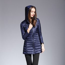 Thin Down Light NZ - 2019 Winter Ultra Light Down Jacket Hooded Long Female Down Coats Long Sleeve Thin Slim Jacket 90% Duck Down UHLULC