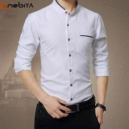 0bef3e1278b Unebiya Spring Autumn Solid Stand Collar Men Shirt Long Sleeve Traditional Fashion  Smart Casual Slim Fit Big Size 5XL Shirts Men