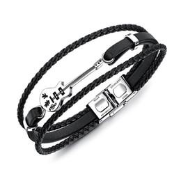 Опт Горячая мода гитара браслет черный кожаный браслет плетеный Канат многослойный Браслет из нержавеющей стали для мужчин ювелирные изделия панк 21 см