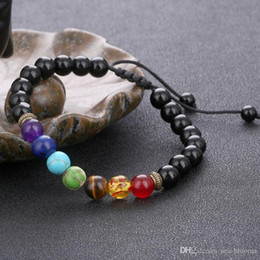 Yoga Charms Australia - 7 Chakra Women Men Jewelry Natural Stone Hand String Adjustable Woven Bracelet Charms Lava-Rock Yoga Bracelet Free DHL B739S A