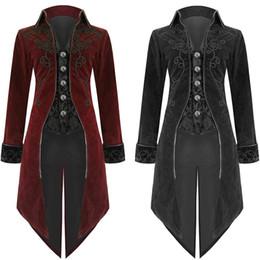 Vente en gros Nouveau 2018 Arrivée Mode Hommes Tailcoat Vestes Goth Steampunk Style Rétro Uniforme Costume Party Outwear Manteau Livraison Gratuite 25