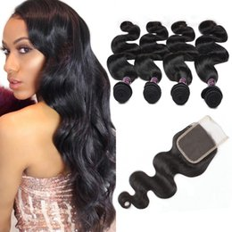 $enCountryForm.capitalKeyWord Australia - Best 10A Brazilian Hair Human Hair Bundles With Closure Body Wave Wholesale Peruvian Human Hair Weave Free Shipping 4bundles With Closure