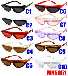 sexy sunglasses wholesale 2019 - 10 colors Vintage Glasses Small Cateye Sunglasses Women Vintage Sexy Cat Eye Frame Tint Red Shiny Lens Sun Glasses for F