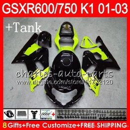 Discount gsxr fairing red white - 8 Body+Tank cover For SUZUKI GSX-R600 GSXR600 GSXR750 01 02 03 8HM45 GSX R600 R750 K1 Green black GSXR 750 600 2001 2002