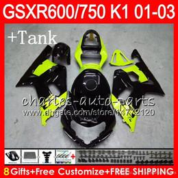 Gsxr fairinG red white online shopping - 8 Body Tank cover For SUZUKI GSX R600 GSXR600 GSXR750 HM45 GSX R600 R750 K1 Green black GSXR Green Fairing