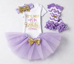 girls first birthday tutu Australia - Newborn Baby Girl First 1st 1 2 2nd Birthday Party Outfits Fluffy Tutu Little Baby Clothing Romper+Skirt+Headband Sets Suits