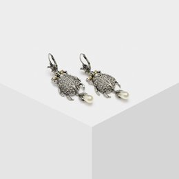 $enCountryForm.capitalKeyWord UK - Amorita boutique New fashion Silver starfish beetle pearl pendant earrings