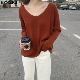 $enCountryForm.capitalKeyWord NZ - spring autumn v-neck oversize loose thin sweater women knit top casual pullovers Long Sleeve big size female Cashmere sweater C18110801