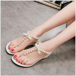open back thong bow Canada - 2018 summer Europe and the United States new pearl bow flat flat with thong sandals fashion women sandals