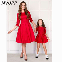 $enCountryForm.capitalKeyWord NZ - MVUPP mom and daughter matching clothes bows half sleeve mother baby dresses mommy me outfits for girls mama family look dress