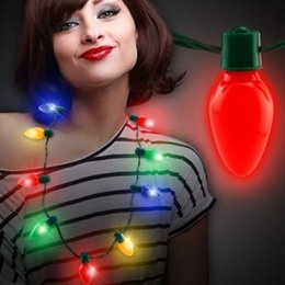 Wholesale Festival Necklace LED Light Up Plastic Flashlight Luminous Christmas Party Bulb Necklaces For Adults Kids LBShipping