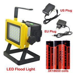 rechargeable flood lights Canada - 30W Rechargeable Portable Flood Light Cordless 20LED Work Lamp Floodlight Spotlight Outdoor Emergency Appliance Lamp with Battery Charger