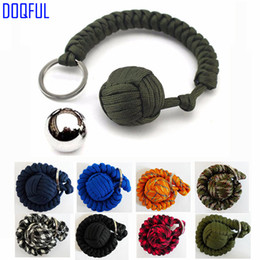 tactical key ring NZ - 100pcs lot Tactical EDC Steel Ball Umbrella Rope Keychains Self Defense Handmade Paracord Key Ring Parachute Cord Survival