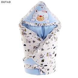 Discount thick warm blankets - OUTAD Baby Sleeping Bags Newborn Infant Swaddle Wrap Soft Caroset Fleece Swaddling Blanket Thick Warm Wraps Baby Sleep M