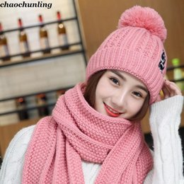 White Rabbit Hair Australia - 2018 New Japan and Korea Ladies Kniting Hats With Scarf Super Warm Lady Rabbit Hair Hats Red,Black,White,Coffee,Pink Colors