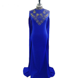 $enCountryForm.capitalKeyWord UK - Royal Blue 2018 Prom Dresses Kaftan Plus Size High Neck Gold Beading Mermaid Dubai African Prom Dress With Cloak Women Formal Evening Gowns