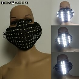 mask for face glow Australia - LED white Glowing Light Mask Hero Face Guard DJ mask Party Halloween Birthday LED Masks for show
