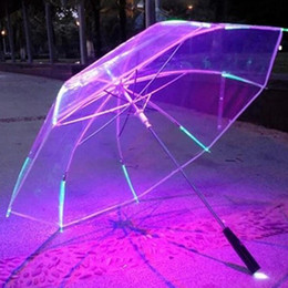 $enCountryForm.capitalKeyWord NZ - Wholesale 7 Colors Changing Color LED Luminous Transparent Umbrella Rain Kids Women with Flashlight For Friends Best Gift